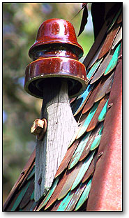 Detail of Suite 16 Birdhouse Metal Roof & Porcelain Insulator by Fowl Places